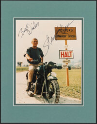 "Steve McQueen in The Great Escape (United Artists, 1963). Very Fine+. Signed and Matted Photo (11"" X 14""). War..."