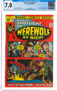 Marvel Spotlight #2 Werewolf by Night (Marvel, 1972) CGC FN/VF 7.0 White pages