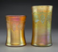 Glass, Two Tiffany Studios Wheel-Carved Favrile Glass Vases, circa 1910. Marks: L.C. Tiffany, Favrile. 5-1/2 inches (14.0 cm) (... (Total: 2 Items)
