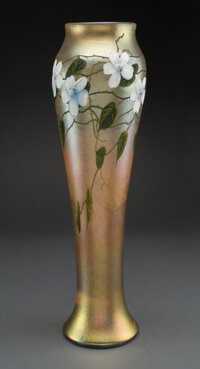 Tall Louis C. Tiffany Furnaces Inc. Decorated and Wheel-Carved Favrile Glass Floral Vase, </
