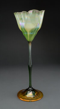 Exceptionally Tall and Fine Tiffany Studios Favrile Glass Floriform Vase, circa 1910 Marks: L.C.T. R9677 16-3/4 inches...