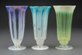 Glass, Group of Three Tiffany Studios Pastille Glass Vases, circa 1910. Marks: L.C.T. Favrile. 6-1/2 inches (16.5 cm) (each). ... (Total: 3 Items)
