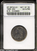 Bust Quarters, 1835 VF30--Cleaned, B-3 -- ANACS. XF Details....