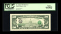 Error Notes:Third Printing on Reverse, Fr. 2124-G $50 1990 Federal Reserve Note. PCGS Gem New 66PPQ.. ...