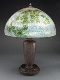 Lighting, Handel Obverse and Reverse Painted Glass and Bronzed Metal Lamp Painted by William Runge, circa 1920. Marks to shade: HAND... (Total: 2 Items)