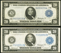 Fr. 971a $20 1914 Federal Reserve Note Very Fine+; Fr. 986 $20 1914 Federal Reserve Note Very Fine. ... (Total: 2 notes)