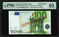 World Currency, European Union Central Bank, Italy 100 Euro 2002 Pick 5ss Specimen PMG Choice Uncirculated 63.. ...