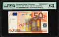 European Union Central Bank, Germany 50 Euro 2002 Pick 4xs Specimen PMG Choice Uncirculated 63