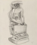 Works on Paper, Henry Moore (1898-1986). Seated Figure, 1940. Pencil on paper. 11 x 9-1/2 inches (27.9 x 24.1 cm). Signed lower right: ...