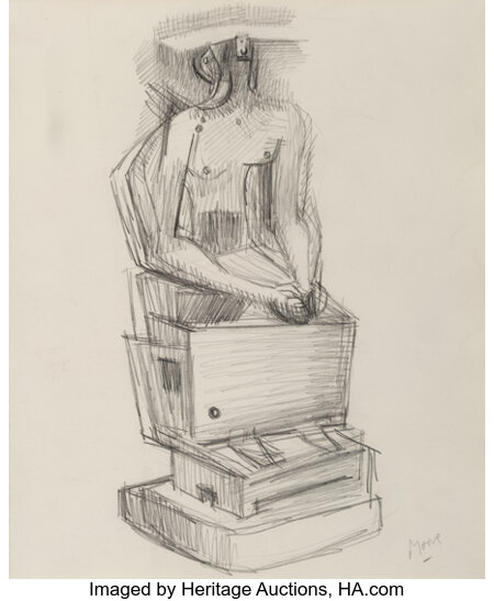 Henry Moore (1898-1986) Seated Figure, 1940 Pencil on paper 11 x 9-1/2 inches (27.9 x 24.1 cm) Signed lower right: ...