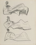 Works on Paper, Henry Moore (1898-1986). Three Reclining Figures, 1956. Pencil on paper. 11-1/2 x 9-1/4 inches (29.2 x 23.5 cm). Signed ...