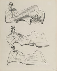 Henry Moore (1898-1986) Three Reclining Figures, 1956 Pencil on paper 11-1/2 x 9-1/4 inches (29.2 x 23.5 cm) Signed