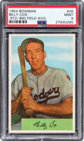 Baseball Cards:Singles (1950-1959), 1954 Bowman Billy Cox (.972/.960 Field Avg.) #26 PSA Mint 9 - Pop Two, One Higher....