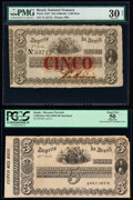 World Currency, Brazil Thesouro Nacional 5 Mil Reis ND (1860-68) Pick A237; A237s Issued Note and Specimen PMG Very Fine 30 Net; PCGS Appa... (Total: 2 notes)