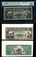 World Currency, Brazil Thesouro Nacional 1 Mil Reis ND (1891) Pick 3s; 3p Specimen and Uniface Proof Pair PMG About Uncirculated 53 Net; A... (Total: 3 notes)