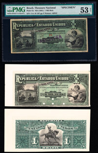 Brazil Thesouro Nacional 1 Mil Reis ND (1891) Pick 3s; 3p Specimen and Uniface Proof Pair PMG About Uncirculated 5