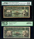 Brazil Thesouro Nacional 1 Mil Reis ND (1891) Pick 3a; 3b Two Examples PMG About Uncirculated 53; PCGS About New 5