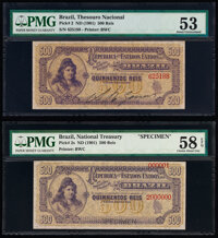 Brazil Thesouro Nacional 500 Reis ND (1901) Pick 2; 2s Issued Note and Specimen Pair PMG About Uncirculated 53; Ch