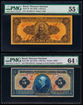 World Currency, Brazil Thesouro Nacional 5 Mil Reis ND (1923); ND (1925) Pick 28; 29b Two Examples PMG About Uncirculated 55 EPQ; Choice U... (Total: 2 notes)