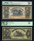 Canada Dominion of Canada $1; $2 31.3.1898; 2.7.1897 DC-13a; DC-14c Two Examples PMG Very Fine 20; PCGS Very Fine 20...