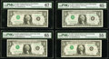 Inverted Overprint Error Complete District Set Fr. 1908-A-L $1 1974 Federal Reserve Notes PMG Graded. ... (Total: 12 not...