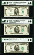 Small Size:Federal Reserve Notes, Fr. 1964-D*; F* $5 1950C Federal Reserve Star Notes. PMG Choice Uncirculated 64 EPQ;. Fr. 1965-K* $5 1950D Federal Reserve... (Total: 3 notes)