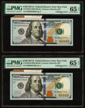 Fold Over Error Fr. 2189-B $100 2017A Federal Reserve Notes. Two Consecutives Examples. PMG Gem Uncirculated 65 EPQ.&...