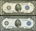 Large Size:Federal Reserve Notes, Fr. 851c $5 1914 Federal Reserve Note Very Fine;. Fr. 856 $5 1914 Federal Reserve Note Very Fine-Extremely Fine.. ... (Total: 2 notes)