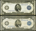 Large Size:Federal Reserve Notes, Fr. 871b $5 1914 Federal Reserve Notes Two Examples Fine or Better.. ... (Total: 2 notes)