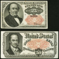Fractional Currency:Fifth Issue, Fr. 1309 25¢ Fifth Issue About New;. Fr. 1380 50¢ Fifth Issue Choice About New.. ... (Total: 2 notes)