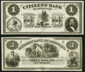 New Orleans, LA- Citizens' Bank of Louisiana $1; $3 18__ Remainders Choice Crisp Uncirculated. ... (Total: 2 notes)