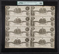 Confederate Notes:1861 Issues, T36 $5 1861 PF-4 Cr. 278 Uncut Sheet of Eight PMG About Uncirculated 50.. ...