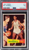 Basketball Cards:Singles (Pre-1970), 1957 Topps Bill Russell Rookie #77 PSA NM 7. ...