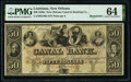 Obsoletes By State:Louisiana, New Orleans, LA- Canal Bank $50 18__ Remainder PMG Choice Uncirculated 64.. ...