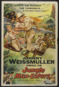 "Movie Posters:Adventure, Jungle Man-Eaters (Columbia, 1954). One Sheet (27"" X 41"").Adventure. Starring Johnny Weissmuller, Karin Booth, RichardStap..."