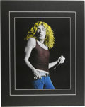 "Music Memorabilia:Photos, Robert Plant Rare Concert Photo Illustration. An 11"" x 14""hand-tinted photo of the Led Zeppelin vocalist, taken during aAu..."