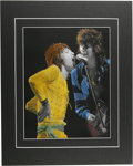 "Music Memorabilia:Photos, Rolling Stones Rare Concert Photo Illustration. An 11"" x 14""hand-tinted photo of Mick Jagger and Keith Richards, taken duri..."