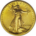 """High Relief Double Eagles: , 1907 $20 High Relief, Flat Rim MS62 PCGS. A thin """"fin,"""" or so-called Wire Rim that characterized the earlier High Relief do..."""