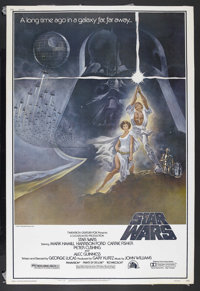 "Star Wars (20th Century Fox, 1977). Poster (40"" X 60""). Style A. Sci-Fi Action. Starring Mark Hamill, Harrison..."