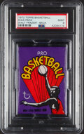 Basketball Cards:Unopened Packs/Display Boxes, 1972 Topps Basketball Unopened Wax Pack PSA Mint 9 - Walt Frazier Back!...