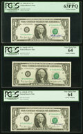 Small Size:Federal Reserve Notes, W.M. Blumenthal Courtesy Autograph Fr. 1909-B $1 1977 Federal Reserve Notes. PCGS Very Choice New 64 (2); Choice New 63PPQ.... (Total: 3 notes)