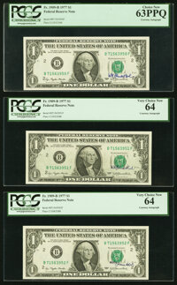 W.M. Blumenthal Courtesy Autograph Fr. 1909-B $1 1977 Federal Reserve Notes. PCGS Very Choice New 64 (2); Choice New 63P...