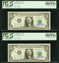 Small Size:Federal Reserve Notes, W.M. Blumenthal Courtesy Autograph Fr. 1909-B $1 1977 Federal Reserve Notes. PCGS Choice About New 58PPQ, (3); Choice About Ne... (Total: 5 notes)