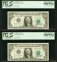 W.M. Blumenthal Courtesy Autograph Fr. 1909-B $1 1977 Federal Reserve Notes. PCGS Choice About New 58PPQ, (3); Choice Ab...