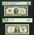 Small Size:Legal Tender Notes, Fr. 1508 $2 1928G Legal Tender Note. PMG Choice Uncirculated 64 EPQ;. Fr. 1619 $1 1957 Silver Certificate. PCGS Superb Gem... (Total: 4 notes)