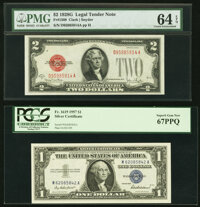 Fr. 1508 $2 1928G Legal Tender Note. PMG Choice Uncirculated 64 EPQ; Fr. 1619 $1 1957 Silver Certificate. PCGS Superb Ge...