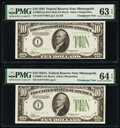 Small Size:Federal Reserve Notes, Changeover Pair Fr. 2005-I/2006-I $10 1934 Mule/1934A Federal Reserve Notes PMG Choice Uncirculated 64 EPQ; Choice Uncirculate... (Total: 2 notes)