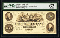 Waterville, ME- Peoples Bank $100 18__ G16 Proprietary Proof PMG Uncirculated 62