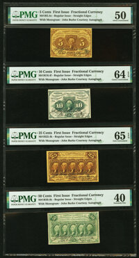 First Issue Denomination Set of Courtesy Autographs PMG Graded Fr. 1230 5¢ About Uncirculated 50; Fr. 1242 10¢...
