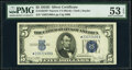 Fr. 1654* $5 1934D Narrow Silver Certificate Star. PMG About Uncirculated 53 EPQ